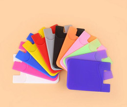 Wholesale Water Sticker Black - Wholesale - Silicone Wallet Credit Card Cash Pocket Sticker Adhesive Holder Pouch Mobile Phone 3M Gadget Samsung