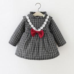 Wholesale Plaid Turtleneck - Girls V Lace Bow Checker Dresses Plus Fleece IG Hot Sale 2017 Winter Kids Boutique Clothing Cute Little Girls Thicken Warm Dresses