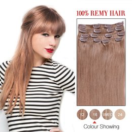 Wholesale Remi Indian Hair - Hot Sale Hair Products Indian Silky Straight Clip Ons Hair Extensions #16 Color 7Pcs Set Remi Hair