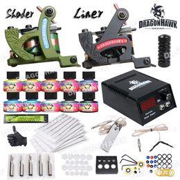 Wholesale Tattoo Guns Equipment - Complete Tattoo Kit 2 Machine Guns USA Ink Equipment Needle Power Supply HW-29GD