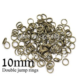 Wholesale Double Jump Rings Bronze - 1000piece lot antique brass bronze split double jump rings 10mm jumprings link connector jewelry making findings supplies