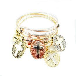 Wholesale Wholesale Gold Filled Wire - Gold Cross Charm Expandable Wire Bangle Bracelet Fashion Brand Crucifix Pendant Bracelet For Women Fine Jewelry