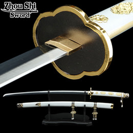 Wholesale Prop Katana - All handmade katana sword Sword Art Online Tsurumaru country forever COS props 1060 Carbon Steel Blade black Decorative Gifts