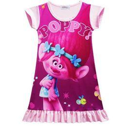 Wholesale Cheap Pajamas Girls - Toddler Girls Dress Princess Party Costume Cartoon Trolls Casual Clothing Vestidos Infantis Pajamas Cheap Baby Summer Clothing