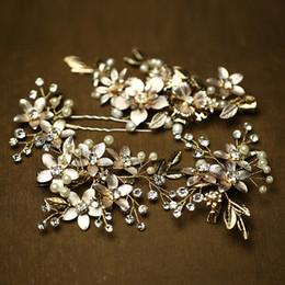 conjuntos de joyería nupcial floral Rebajas Beijia Encanto Oro Floral Accesorios de boda Joyería del pelo de la perla Hecho a mano Nupcial Clip Pins Set Casquillo