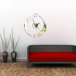 Wholesale Wall Lower Decals - Romantic Design 3D DIY Silver Modern Rotation Clock Wall Sticker Livingroom Office Decal Decor Lowest Price