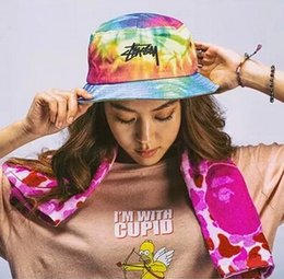 Wholesale Colorful Bucket Hats - grey colorful bucket hat Tie Dye washed crusher outdoor leisure travel cap visor sun hat Harajuku dye sunscreen embroidery hat and leisure
