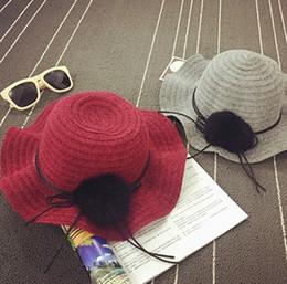 Wholesale Knit Cloche - Children hat knitting fisherman hat for girls pompon lace-up bows wide brim cloche floppy sun cap autumn kids princess accessories T0111