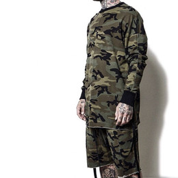 Roupas de camuflagem swag on-line-2016 hiphop justin bieber roupas de rua desgaste urbana roupas homens manga longa longline camiseta roupas de muamba camuflagem