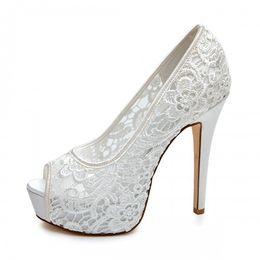 Canada 2016 Dentelle De Mariage Chaussures De Mariée Ivoire Rose Noir Accessoires De Mariée Haute Talons Custom Made Size Plus Femmes Sandales Slip On Peep Toe cheap ivory lace wedding sandals Offre