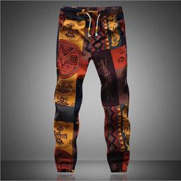 Wholesale Jogging Capris Men - 2016 Summer Men's Casual Pants New fashion Floral Linen Men's Pants Capris Men Elastic Waist Jogging Pants Feet Pants M-5XL
