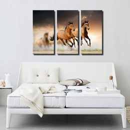 Wholesale Horse Paint Wall Art - 3 Picture Combination Wall Art Painting Running Wild Horse Brown Horses Galloping Paintings The Picture For Home Decoration