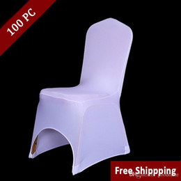 Wholesale Lycra Cover Seat - 100PCS Hotel Seat Chair Cover Stretch Elastic Universal White Spandex Wedding Chair Cover for Weddings Party Banquet Hotel Lycra Chair cover