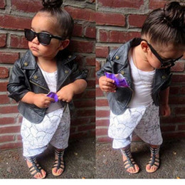 Wholesale Baby Jackets Leather Girls - Autumn Winter Infant Baby Girls Pu leather Jackets Toddler Fashion Motorcycle zipper outwear 2016 Babies Christmas clothing