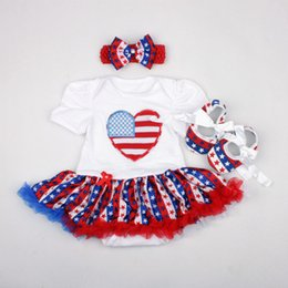 Wholesale Girls Black Skirt Sets - 2017 Baby girl toddler Summer clothes 3piece set outfits US Independence Day 4th of July Tutu Skirt Romper Onesies + Bow Headband + Shoes