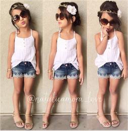 Wholesale Kids Brace Shorts - 2016 Summer Girls cotton Dress set White braces skirt+lace denim shorts baby girls Denim Skirt suit Kid pants Suits Kids summer Clothing 27y
