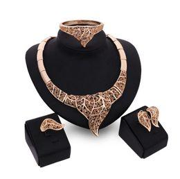 Wholesale 18kgp Bracelets - Fashion Bride Jewelry Sets For Women Best Gift High-Grade 18kgp Alloy Necklace Earrings Bracelet Ring Sets 61154123