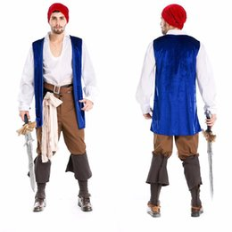 Wholesale Medieval Dresses Costumes - Pirate costume halloween costume for men cosplay costume victorian dress disfraces halloween medieval dress medieval gown