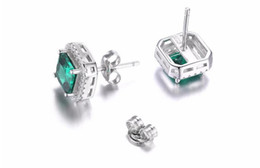 Wholesale Russian Silver Jewelry - JewelryPalace Square 1.4ct Created Nano Russian Emerald 925 Sterling Silver Stud Earrings Fine Jewelry for Women New Brand