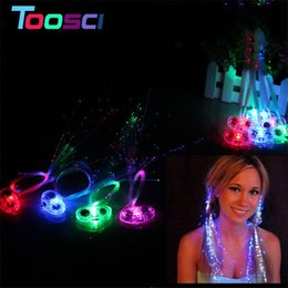 Wholesale Fiber Optic Hair Accessories - LED Flash Butterfly hairline Colorful light up Braids Luminous LED Light-emitting Fiber Optic Hair accessory Masquerade Festival Props Gift