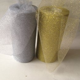 Wholesale Tulle Rolls Wholesale - 6 inches 25Yard Gold Silver Glitter Mesh Shinning Tulle Spool Roll Vintage Style Trim Craft For Tutu Wedding Party Chair Tables Decor