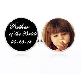 Wholesale Father Bride Cufflinks - 1Pair SALE - Custom Photo Father of the Bride Cufflinks - Silver Plated Cuff Links- Wedding Cufflinks - Personalized Cuff