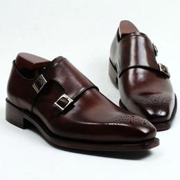 Leder dunkelbraun online-Männer Kleid Schuhe Mönch Schuhe Benutzerdefinierte handgefertigte Schuhe aus echtem Kalbsleder Farbe dunkelbraunes Band doppelte Schnallen HD-247