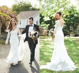 Wholesale Dress Chantilly - Chantilly Lace Wedding Dresses Trumpet Style Long Lace Sleeve V Neck Open Backs Garden Church Bridal Wedding Dresses