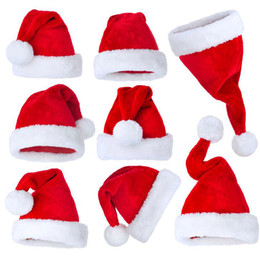 Wholesale Adult Holiday Costumes - Hot Sale Santa Red Plush Christmas Party Hat Holiday Costume Caps Adult Headgear Velvet Santa Cap