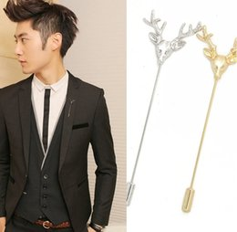 Wholesale Inserted Collars - Vintage style deer head inserted needle brooch Men's and women's suit inserted pins Creative collar clothing accessories