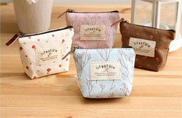 Wholesale Small Cloth Purses - 2016 Ladies Canvas Print Small Coin Purse Sweet Garden Flowers Women's Cosmetic makeup bag Coin Keychain key Cloth Wallet free shipping