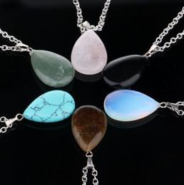 Wholesale Necklace Real Stone - Drop Shape Chakra Natural Real Stone Quartz Pendant Necklaces Women Men Valentine Stone Pendants Necklace