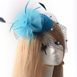 Wholesale African Feather Hat - Hot sale Free Shipping Bride Veil Netting Mesh Feather Bridal Wedding Pillbox Hat Dress accessory handmade