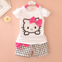 Wholesale Cute Foreign Baby Girl - Cartoons Children Sets Brand Children Suits (T shirt + shorts) Summer Baby Sweater Children's Clothing Two-Piece Foreign Trade Girl Suits