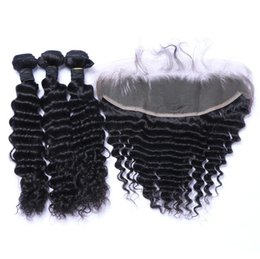 Wholesale Beautiful Thick Hair - 7A Quality Beautiful Malaysian Deep Wave with one 13*4 Lace Frontal closure No Shedding Free Tangle Full And Thick Free Shipping Fee DHL