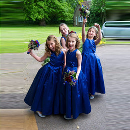 Wholesale Cheap Handmade Dresses - Vestido Longo Royal Blue Flower Girl Dresses 2018 Cheap Handmade Flower Cute Taffeta Little Girls Pageant Dress for Wedding