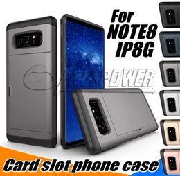 Capa da corrediça do iphone on-line-Casos carteira para Iphone 11 Pro XS MAX Samsung Nota 10 casos S10 Mais de Fina Slot para cartão de protecção Deslize Caso híbrido Capa traseira