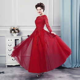 Wholesale Homecoming Dresses Cheap - Cheap Evening Dress Robe Longue Manche Longue 2017 Modest Burgundy Long Sleeves Prom Dresses Special Occasion Hot Sale