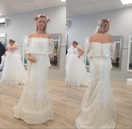 Wholesale Cheap Plus Size Bridal Wraps - 2018 Boho Lace Wedding Dresses Cheap Long Strapless Off Shoulder Zioper Back Bridal Gowns Custom Made