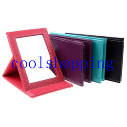 Wholesale Modern Beauty - Portable Foldable Leather Mirror Women Beauty Make up Mirror Cosmetic Mirror