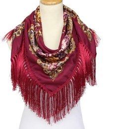 Wholesale Tassels For Sale Wholesale - HOT Sale Russian Brand New Fashion Big Size Square Scarf Cotton Long Tassel Print Scarf in Spring Winter Shawl For Women 108