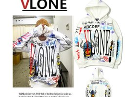 Wholesale Design Fashion Men Clothing - VLONE Hoodie Hip Hop Brand Clothing Tops A$AP V X Fragment Design Hoody Graffiti Loose Men Street Style Skateboard VLONE Hoodies