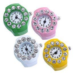 Wholesale Quartz Store - Men's Women's Silicon Round Rhinestone Elastic Quartz Finger Ring Watch Gift Store 51