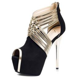 Wholesale Super Princess Shoes - 2016 Princess Style Super High Heels Cut-outs Hollow Shoes Women Platform Pumps Sandals Shoes Party Dress Shoes 4 Colors