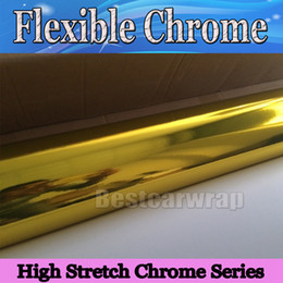 Wholesale full car covers - High stretch Chrome gold Vinyl Wrap Full Car Wrapping Mirror withilm Air Bubble Free Vehicle Covers graphis 1.52*20M Roll 4.98x66ft