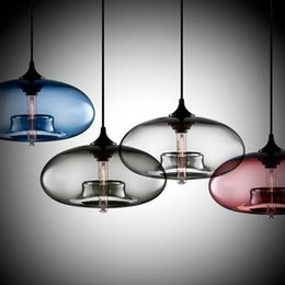 Wholesale Stained Glass Pendant Lamps - Round Glass Pendant Lamp AC110-220V E27 Modern Suspension Stained Glass Pendant Lamp Kitchen Restaurant Cafe Bar
