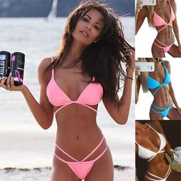 Wholesale Triangle Sexy Bikini Tops - 2016 Summer styles thong triangle cross strappy sexy push up bikinis set women halter top swimwear swimsuit bathing suit Bandage 2014