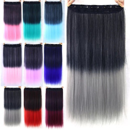 Wholesale Frosting Hair Clip - Two tone ombre courful 120g high temprature synthetic fiber clip in hairs with 5clips courfurl clip in hair,fashion can dye and curl clip in