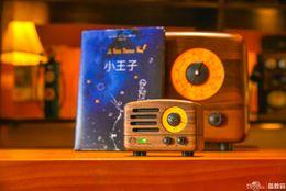 Wholesale Phone Bluetooth Retro - Upscale Retro Wooden MAOKING Little Prince FM radio desktop Bluetooth speaker Petty Bourgeoisie Mini Elvis Wooden Wireless Music Player MW-2