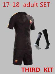 Wholesale Jersey Shorts Set - HOT SALE 17 18 THIRD roma adult KIT TOTTI DE ROSSI home Jerseys kit DZEKO EL Shaarawy 2017 2018 3RD TOTTI football soccer Jerseys SET